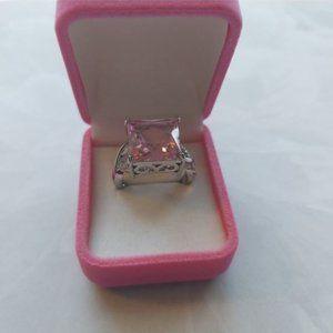 Rhodium Plated Pink CZ Ring
